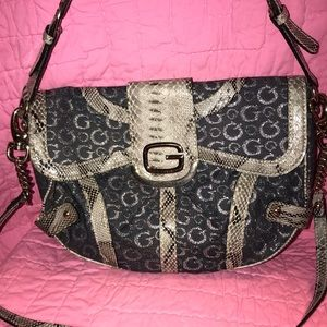Guess denim and silver purse